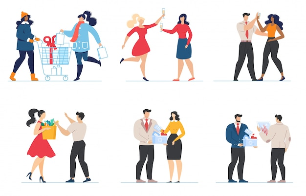 Cartoon couples and friends characters flat set Premium Vector