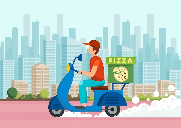Cartoon courier carries pizza on scooter against Premium Vector