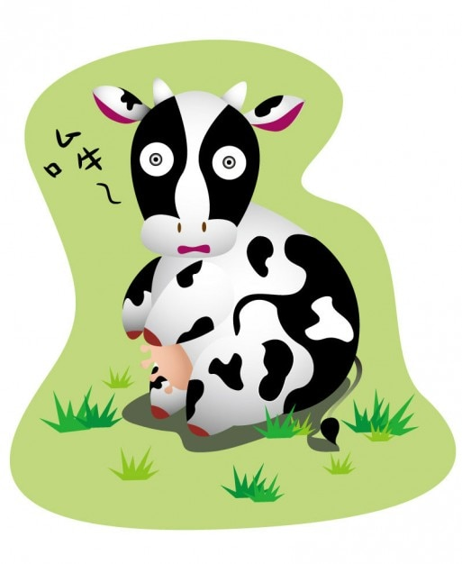 Cartoon Cow With Big Eyes Vector Vector