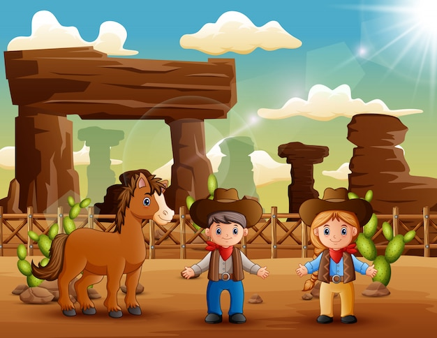Cartoon cowboy and cowgirl with a horse in the desert Premium Vector