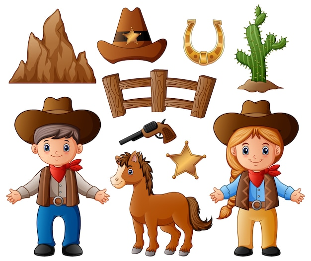 Cartoon cowboy and cowgirl with wild west elements Premium Vector