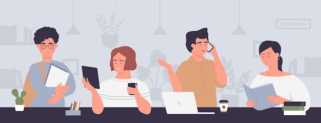 Мультфильм творческих деловых людей встреча Premium векторы