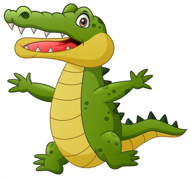 Cartoon crocodile happy. illustration Premium Vector