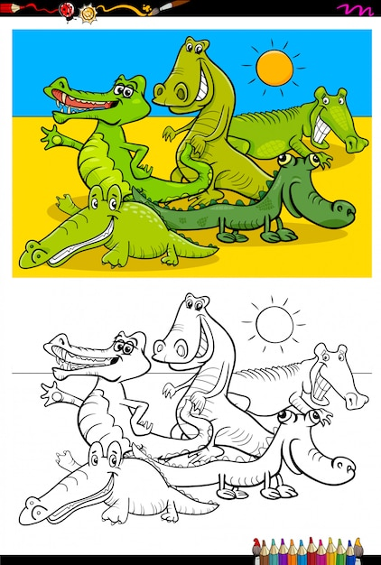 Cartoon of crocodiles coloring book Premium Vector