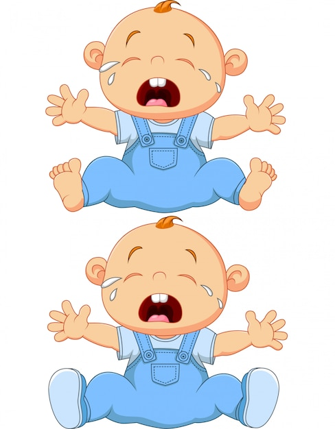 Cartoon crying baby twins isolated on white background Premium Vector