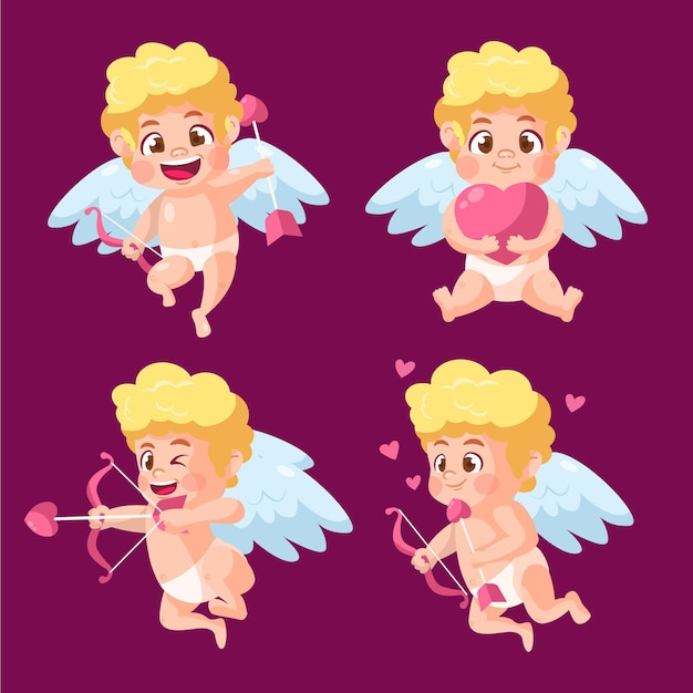Cartoon cupid character collection Free Vector