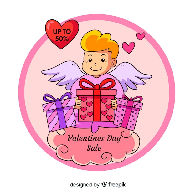 Cartoon cupid valentine sale background Free Vector
