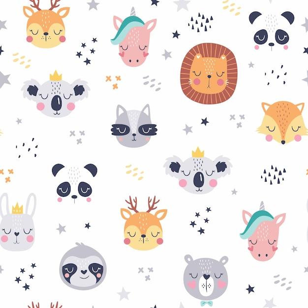 만화 귀여운 동물 얼굴. Boho 귀여운 동물 패턴. 프리미엄 벡터