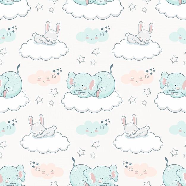 Cartoon cute animal seamless pattern. elephant and rabbit Premium Vector