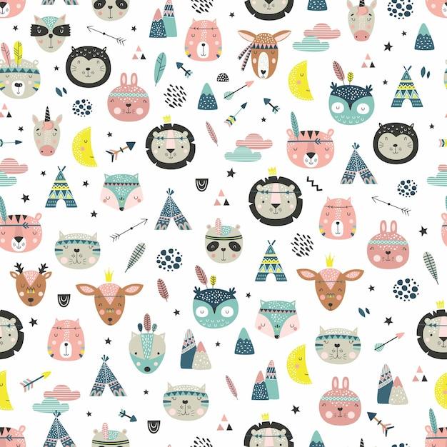 Мультфильм милые животные племенные лица. бохо милые животные шаблон. Premium векторы