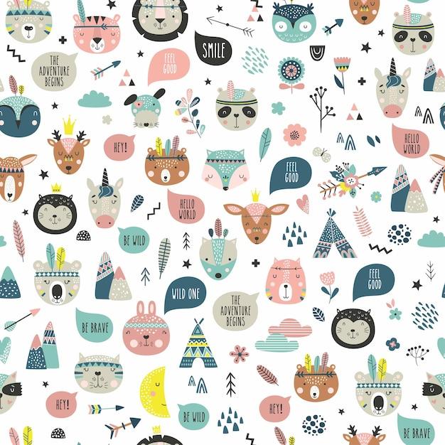 漫画のかわいい動物の部族の顔。自由奔放に生きるかわいい動物のパターン。 Premiumベクター