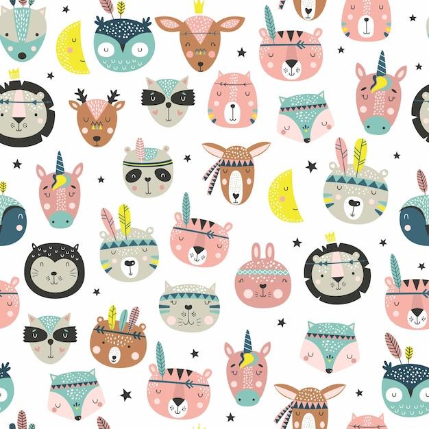 만화 귀여운 동물 부족 얼굴. Boho 귀여운 동물 패턴. 프리미엄 벡터