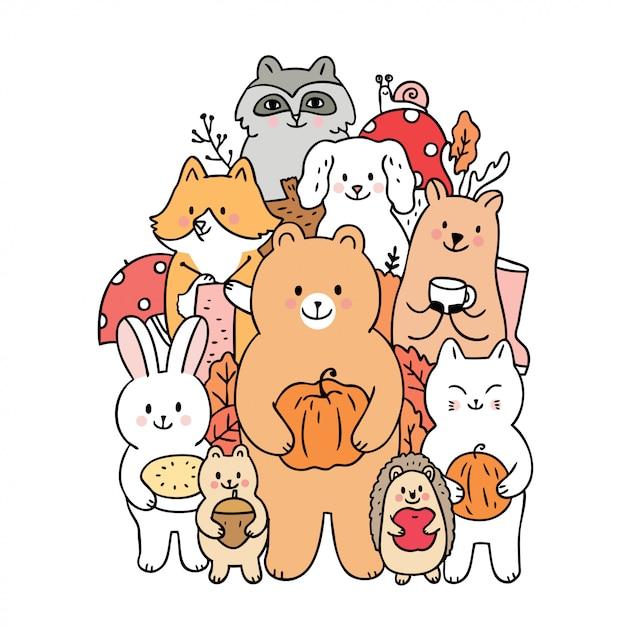 Cartoon cute animals autumn and fruits vector. Premium Vector
