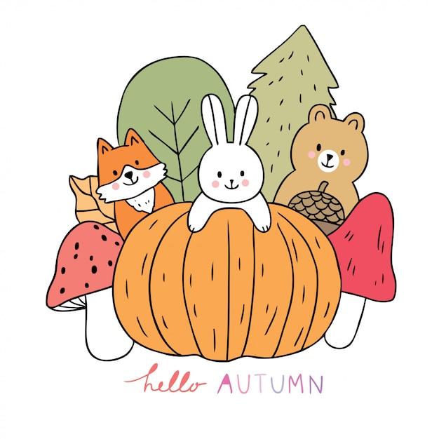 Cartoon cute animals autumn and pumpkin and mushroom vector. Premium Vector