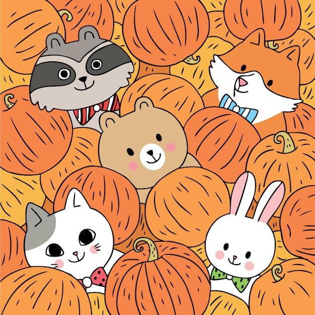 Cartoon cute animals autumn and pumpkins vector. Premium Vector