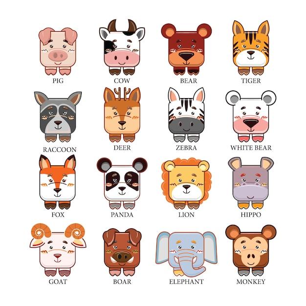 Cartoon cute animals head collection set Premium Vector