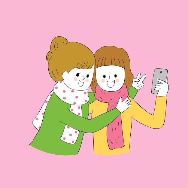 Cartoon Cute Autumn Best Friends Selfie Together Vector Vector