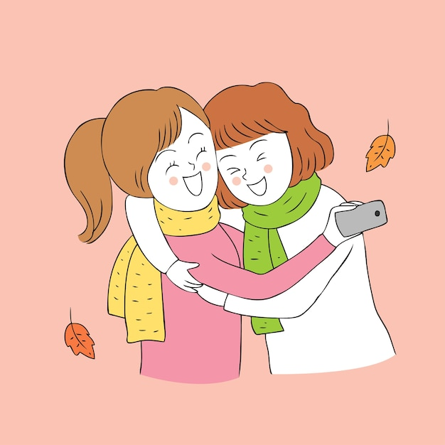 Cartoon Cute Autumn Best Friends Selfie Vector Vector Premium