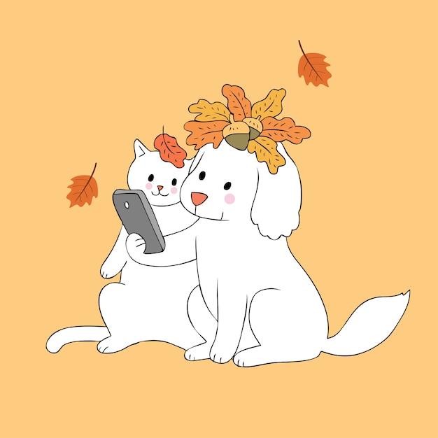 Cartoon Cute Autumn Dog And Cat Selfie Vector Premium Vector