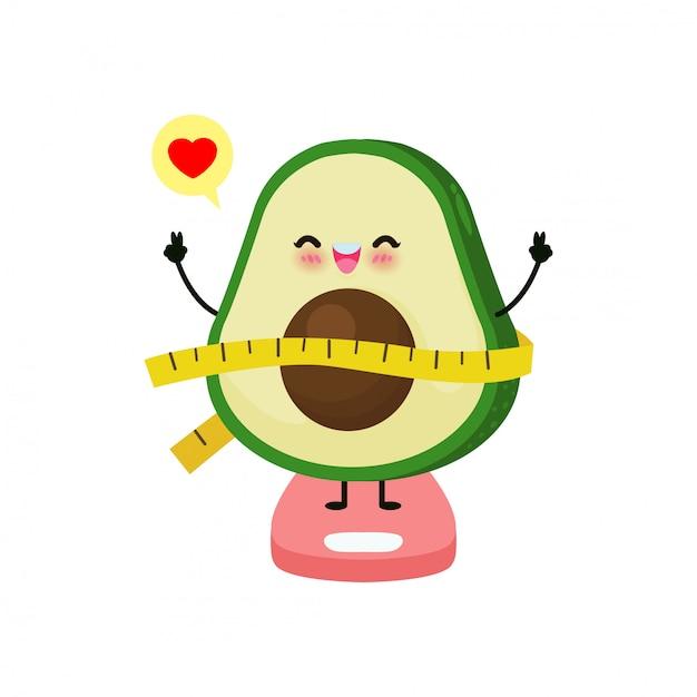 Вес потери милого авокадоа шаржа счастливый на веся весах, весы для измерять тучность, концепция с едой здоровой еды и тренировка. забавный фруктовый персонаж на белом фоне Premium векторы