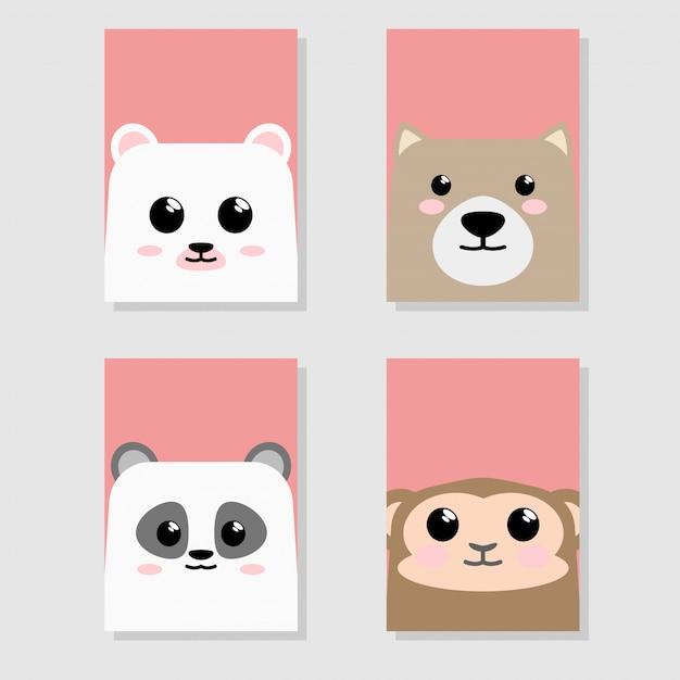 Cartoon cute baby animal icon set card Premium Vector