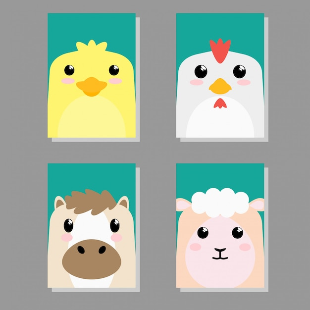Cartoon cute baby animal icon set card Premium Vector