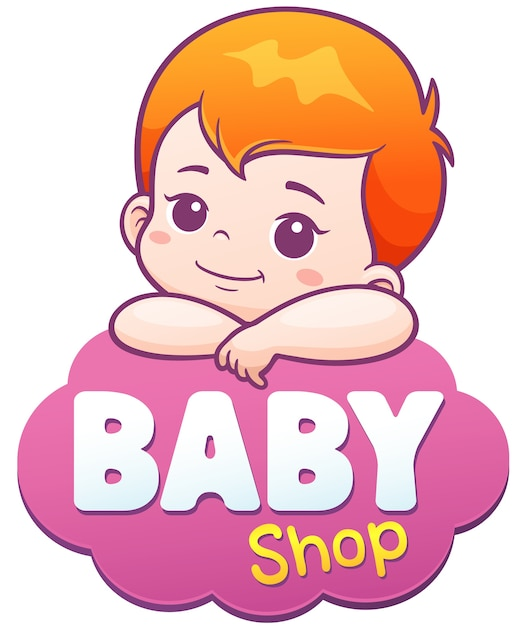 Cartoon cute baby. baby care logo concept Premium Vector