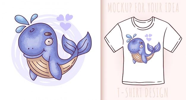 Мультфильм милый ребенок синий кит. Premium векторы