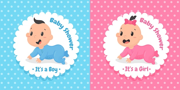 Cartoon cute baby boys and girls who are crawling happily Premium Vector