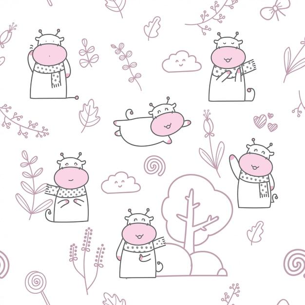 Cartoon cute baby cow seamless pattern Premium Vector