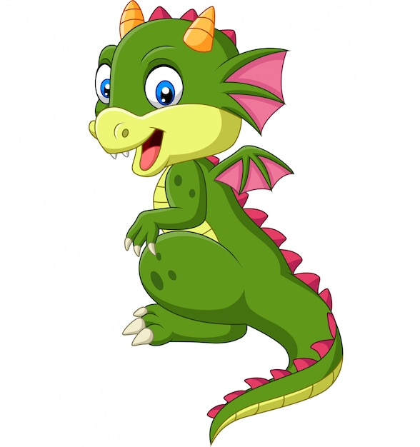 Cartoon cute baby dragon on white background Premium Vector