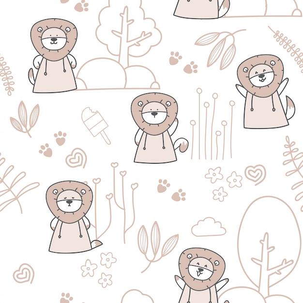 Cartoon cute baby lion seamless pattern Premium Vector