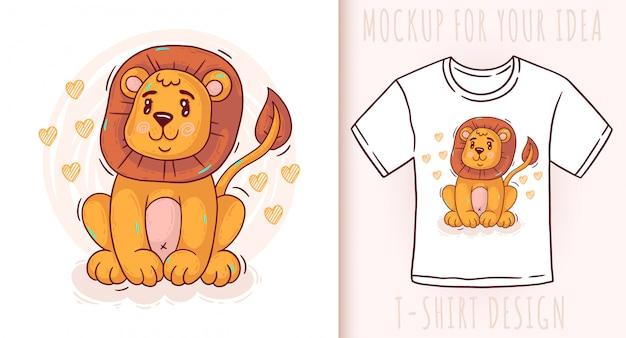 Cartoon cute baby lion. Premium Vector
