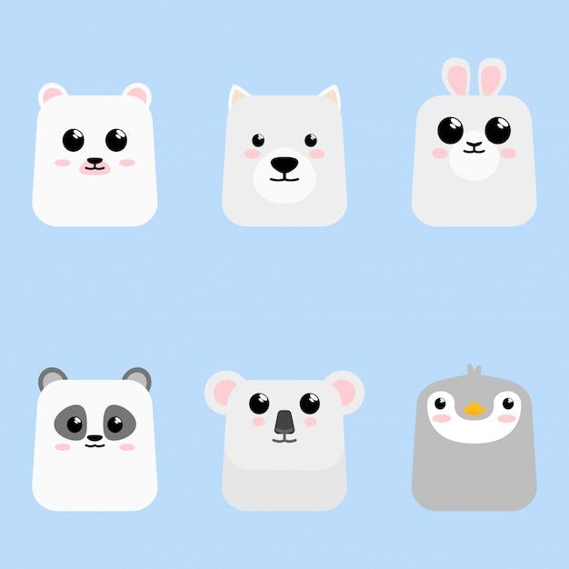 Cartoon cute baby животный значок набор карты Premium векторы