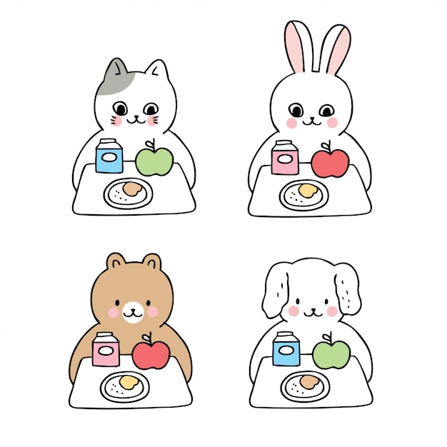 Cartoon cute back to school animals and lunch time Premium Vector