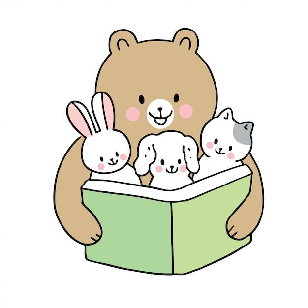 Cartoon cute back to school bear reading book and baby animals Premium Vector