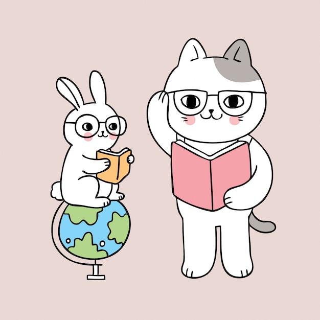 Cartoon cute back to school cat and rabbit reading book Premium Vector