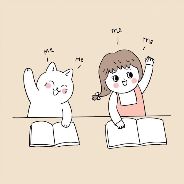 Cartoon cute back to school girl and cat in class . Premium Vector