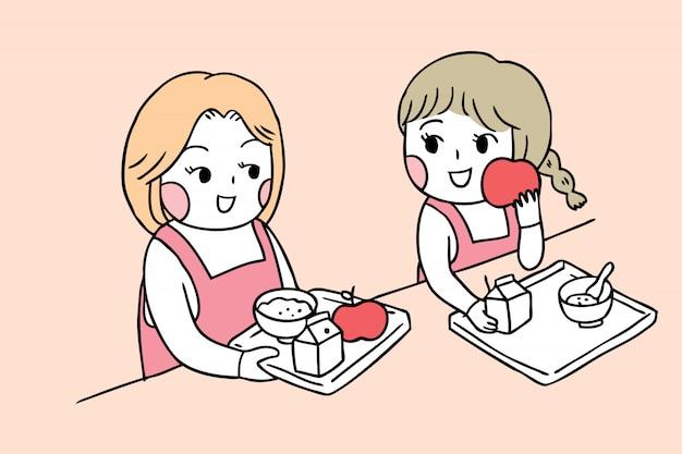 Cartoon cute back to school girls in canteen Premium Vector