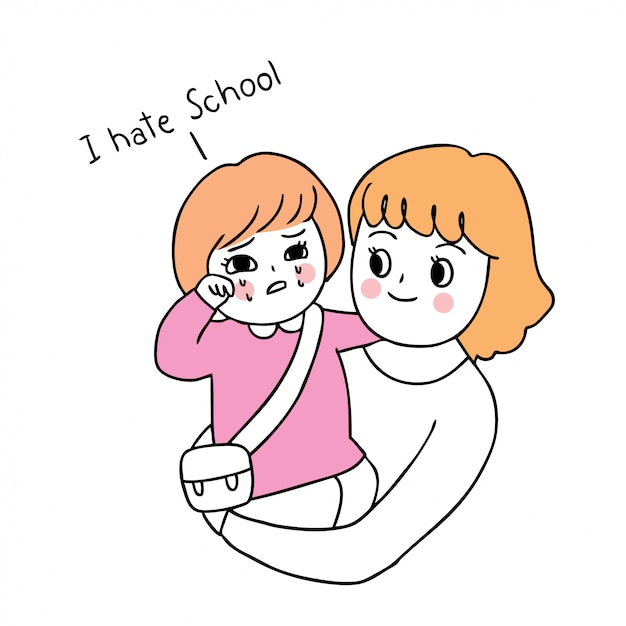 Cartoon cute back to school mother and daughter crying . Premium Vector