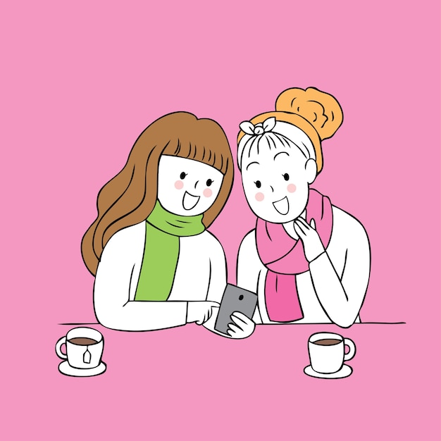 Cartoon Cute Best Friends Talking And Waiting Vector Vector