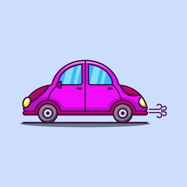 Cartoon cute car in pink illustration