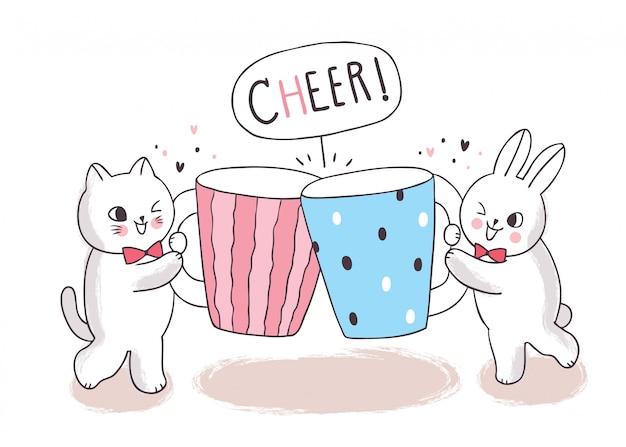 漫画かわいい猫とウサギとカップコーヒー Premiumベクター