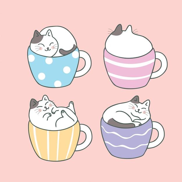 Cartoon cute cat and cup coffee Premium Vector
