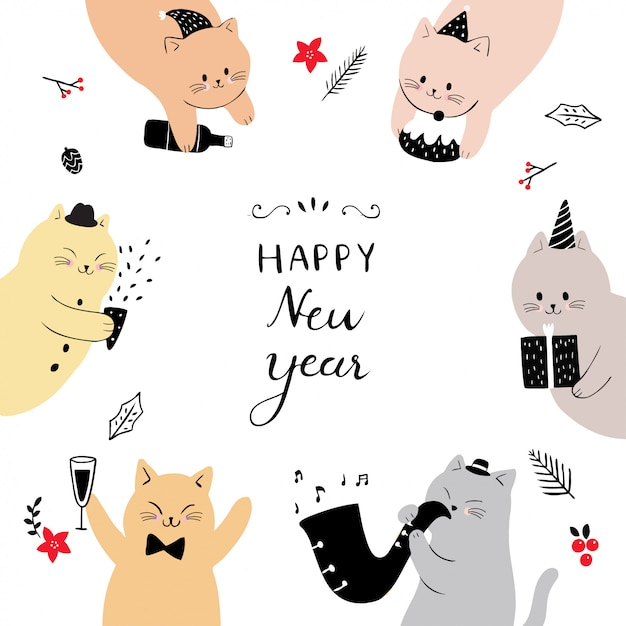 cartoon cute cat happy new year vector premium vector