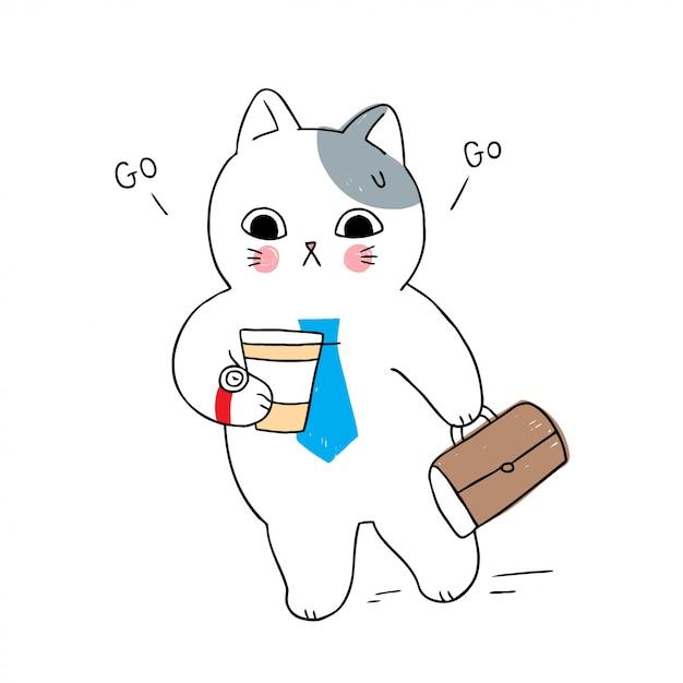 Cartoon cute cat hurried work Premium Vector