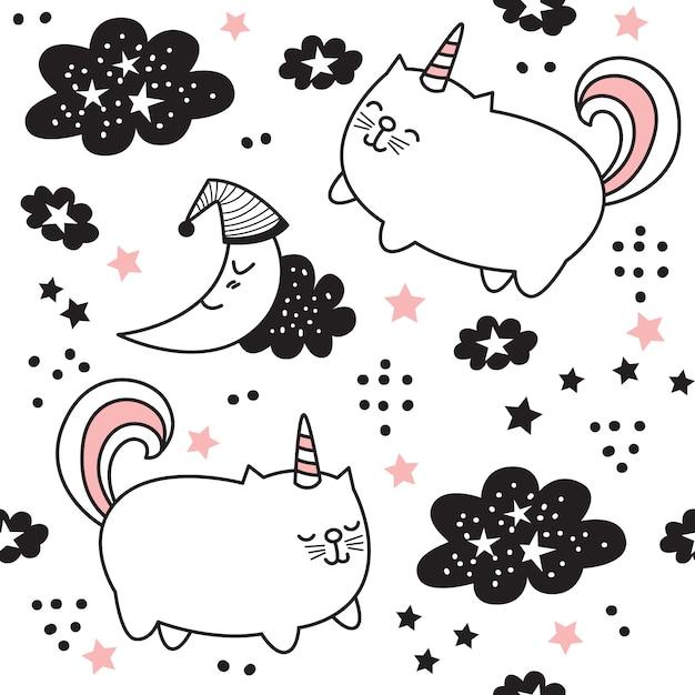Cartoon cute cat unicorn seamless pattern Premium Vector