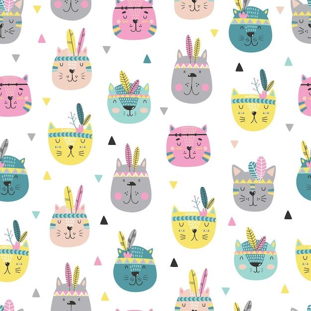 만화 귀여운 고양이 얼굴 패턴 스칸디나비아 스타일. 프리미엄 벡터