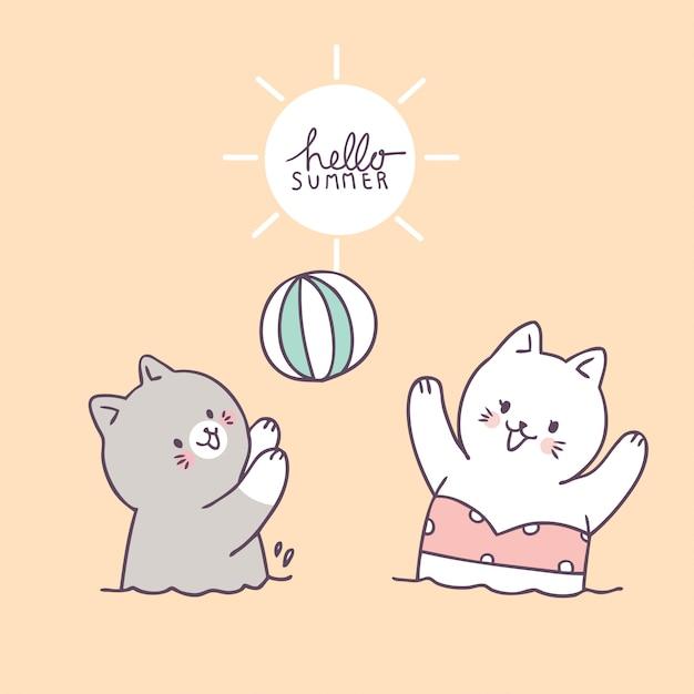 Cartoon cute cats playing ball vector. Premium Vector