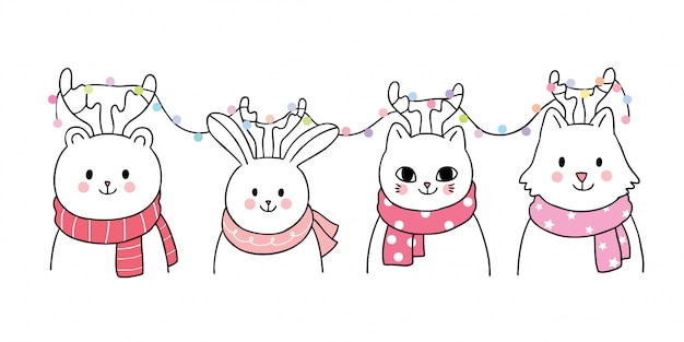 Cartoon cute christmas, animals and lights vector. Premium Vector